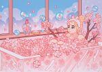 1girl bathtub blonde_hair branch bubble clouds crescent flower hair_bun highres knees_up meyoco open_mouth original petals pink_flower pink_theme plant solo sparkle window