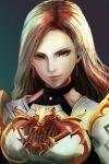 1girl armor blonde_hair bodysuit brown_eyes brown_hair clothing_cutout gloves highres jack_(kairuhaido) kisara_(tales) long_hair looking_at_viewer simple_background solo tales_of_(series) tales_of_arise