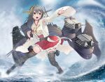 1girl absurdres bangs black_hair black_legwear brown_eyes detached_sleeves frilled_skirt frills frown gegeron hair_ornament hairband haruna_(kancolle) headgear highres japanese_clothes kantai_collection long_hair looking_to_the_side miniskirt nontraditional_miko ocean open_mouth outdoors pleated_skirt red_skirt ribbon-trimmed_sleeves ribbon_trim shirt skirt sleeveless sleeveless_shirt solo sparkle splashing standing thigh-highs thigh_strap white_shirt white_sleeves wind yellow_hairband