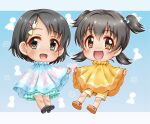 2girls :d akagi_miria bangs black_footwear black_hair blue_bow blue_skirt bow brown_eyes brown_footwear bunny_hair_ornament chibi eyebrows_visible_through_hair frilled_skirt frills grey_eyes hair_between_eyes hair_bow hair_ornament hairclip idolmaster idolmaster_cinderella_girls looking_at_viewer low_twintails multiple_girls open_mouth parted_bangs poncho regular_mow sandals sasaki_chie shoe_soles shoes short_hair shorts skirt smile twintails two_side_up yellow_shorts