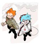 2boys alternate_costume blue_hair boyfriend_(friday_night_funkin') cigarette fist friday_night_funkin' looking_at_viewer orange_hair pico_(pico's_school) smile smoking ssyyaabb standing