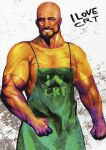 1boy absurdres apron artbook bald clenched_hand crt dark-skinned_male dark_skin english_text facial_hair green_apron highres huke huke_(style) i_heart... manly muscular muscular_male official_art old old_man realistic shirt steins;gate tennouji_yuugo violet_eyes white_background yellow_shirt