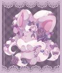 blush border bow cinccino commentary_request eyelashes flower grey_flower hands_up highres looking_at_viewer pokemon riri_(riri_nasinasi) rose smile sparkle