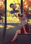 2girls absurdres arm_support arm_up autumn bangs black_headwear blonde_hair blue_dress bow bowtie broom circle_skirt crystal day dress eyebrows_visible_through_hair flandre_scarlet flying from_side full_body grin hat high_heels highres holding holding_broom holding_leaf kirisame_marisa leaf light_rays looking_at_another multiple_girls outdoors puffy_short_sleeves puffy_sleeves red_bow red_dress red_footwear red_neckwear shi_chimi short_sleeves sitting smile touhou wind wind_lift wings witch_hat wooden_floor yellow_eyes