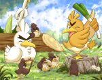 alternate_color bird blush closed_eyes closed_mouth clouds commentary_request day farfetch'd flower galarian_farfetch'd galarian_form grass holding holding_stick no_humans outdoors pokemon pokemon_(creature) shuri_(syurigame) sirfetch'd sky smile stick tree_stump white_flower