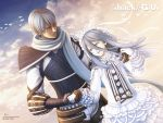 .hack//g.u. .hack//roots aina bird biwa blue_hair brother_and_sister cloud dress frills gathers gloves gothic_lolita hat highres holding_hands hug lolita_fashion long_hair ovan ribbon scarf siblings sky smile sunglasses wallpaper wind