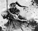 haori japanese_clothes katana long_hair male monochrome ponytail samurai sword weapon