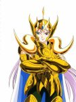 80's aries_mu armor cape cloth dots golden horns knights_of_the_zodiac long_hair male oldschool purple_hair ram_horns saint_seiya white_skin
