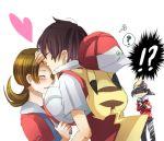 /\/\/\ 1girl 2boys bad_id baseball_cap black_hair blush brown_hair couple envy forehead_kiss gold_(pokemon) hat jealous kiss kotone_(pokemon) md5_mismatch multiple_boys pikachu pokemon pokemon_(creature) pokemon_(game) pokemon_gsc rahiko red_(pokemon) simple_background