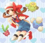 :3 bag bow brown_eyes brown_hair cabbie_hat colored_eyelashes hat_ribbon heart hoppip jumpluff kotone_(pokemon) long_sleeves lowres nintendo open_mouth overalls pokemon pokemon_(game) pokemon_gsc pokemon_heartgold_and_soulsilver red_eyes red_ribbon ribbon shoes shooting-star skiploom smile thigh-highs thighhighs twintails white_thighhighs zettai_ryouiki