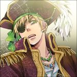 axis_powers_hetalia bandana blonde_hair eyepatch feathers green_eyes hat iwaki_soyogo jewelry male necklace pirate pirate_hat short_hair solo tricorne united_kingdom_(hetalia)