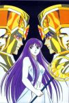 80's armor athena cloth crazy_eyes evil_smile gemini_saga kidoh_saori knights_of_the_zodiac male oldschool purple_hair saint_seiya saori_kido twins two_faces