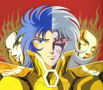 armor blue_hair cloth crazy_eyes creepy evil_eyes evil_face evil_smile gemini_saga golden grey_hair knights_of_the_zodiac male mask red_eyes saint_seiya twins two_faces
