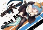 1girl absurdres assault_rifle bare_shoulders black_footwear black_gloves black_legwear blue_hair blue_nails boots breasts bullet character_name closed_mouth eyebrows_visible_through_hair eyewear_on_head fingerless_gloves girls_frontline gloves guchagucha gun hands_on_floor highres looking_at_viewer multicolored multicolored_nails on_floor orange_nails red_eyes rifle safety_glasses short_hair simple_background small_breasts smile solo striped striped_legwear weapon zas_m21_(girls'_frontline) zastava_m21