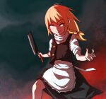 1girl apron bangs black_skirt black_vest blonde_hair blush bow braid cleaver closed_eyes closed_mouth commentary_request cookie_(touhou) eyebrows_visible_through_hair feet_out_of_frame hair_bow highres holding holding_knife kirisame_marisa knife long_hair magic:_the_gathering no_hat no_headwear shirt short_sleeves skirt smile solo star_(symbol) suzu_(cookie) tibalt touhou vest waist_apron white_shirt yan_pai