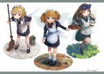 3girls :d absurdres alternate_costume apron black_dress black_footwear blonde_hair blue_bow blue_eyes blush border bow brown_eyes brown_hair bucket dress drill_hair enmaided fairy fairy_wings fang full_body grey_border hair_bow highres holding holding_tray juliet_sleeves long_sleeves looking_at_viewer luna_child maid maid_apron maid_headdress misohagi mop multiple_girls open_mouth orange_hair puffy_sleeves short_hair signature smile standing standing_on_one_leg star_sapphire sunny_milk touhou tray twitter_username two_side_up white_apron white_background wings