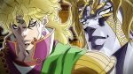 1boy blonde_hair closed_mouth dio_brando earrings grandguerrilla heart heart_earrings heaven_ascended_dio high_collar jewelry jojo_no_kimyou_na_bouken jojo_no_kimyou_na_bouken:_eyes_of_heaven looking_at_viewer multiple_views parted_lips projected_inset red_eyes sanpaku smile yellow_eyes