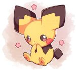 artist_name black_eyes commentary highres looking_at_viewer outline pichu pink_background pink_eyes pokemon pokemon_(creature) sevi_(seviyummy) sitting smile watermark white_background white_outline