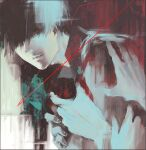 1boy 3others bangs black_background black_hair black_reaper collared_shirt commentary_request glowing glowing_eye grey_background grey_hair hair_over_one_eye kaneki_ken koujima_shikasa looking_at_viewer male_focus multiple_others red_background red_eyes shirt short_hair solo_focus tokyo_ghoul upper_body