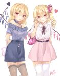 2girls :o alternate_costume bag bangs belt black_legwear blurry breasts closed_mouth contrapposto crystal dated depth_of_field dress drill_hair earrings eyebrows_visible_through_hair feet_out_of_frame flandre_scarlet hair_between_eyes hand_up handbag heart highres jewelry kei_(hidden) legs_together light_smile lips looking_at_viewer medium_breasts medium_hair multiple_girls nail_polish no_hat no_headwear off-shoulder_dress off_shoulder one_side_up parted_lips pink_nails pink_skirt pointy_ears short_sleeves signature simple_background skirt thigh-highs touhou white_background white_legwear wing_collar wings
