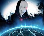 1boy bangs black_background black_hoodie city_lights closed_mouth eyebrows_visible_through_hair from_side hood hood_up hoodie kaneki_ken koujima_shikasa male_focus profile red_eyes short_hair solo starry_background symbol-only_commentary tokyo_ghoul upper_body white_background white_hair