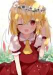 1girl ascot bangs blonde_hair blush commentary_request crystal flandre_scarlet hand_up head_wreath highres long_hair nail_polish no_hat no_headwear one_eye_closed one_side_up open_mouth red_eyes red_nails red_skirt red_vest shirt short_sleeves skirt smile solo suikario touhou upper_body vest white_shirt wings wrist_cuffs yellow_neckwear
