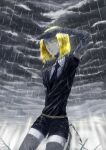 1other absurdres androgynous belt black_neckwear blonde_hair clouds cloudy_sky colored_eyelashes commentary_request crystal_hair elbow_gloves gem_uniform_(houseki_no_kuni) gloves highres houseki_no_kuni multiple_others necktie rain shirt short_hair short_sleeves shorts shumanomalos sky sparkle thigh-highs wet wet_clothes yellow_diamond_(houseki_no_kuni) yellow_eyes