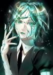 1other androgynous bangs colored_eyelashes commentary cracked_skin crystal_hair english_commentary gem_uniform_(houseki_no_kuni) green_eyes green_hair highres houseki_no_kuni keipsan looking_at_viewer necktie open_mouth phosphophyllite shards short_hair short_sleeves simple_background solo sparkle