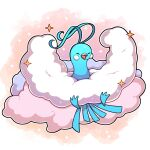 absurdres altaria artist_name bird commentary facing_viewer highres open_mouth outline pink_background pokemon pokemon_(creature) sevi_(seviyummy) sparkle watermark white_outline