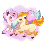 absurdres artist_name brown_eyes full_body galarian_form galarian_ponyta highres looking_at_another no_humans outline pink_background pink_eyes pokemon pokemon_(creature) ponyta sevi_(seviyummy) sparkle watermark white_background white_outline