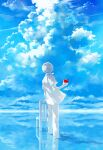 1boy apple blue_sky chair clouds commentary dated day food from_behind fruit highres holding holding_food holding_fruit kaneki_ken koujima_shikasa male_focus open_clothes open_shirt pants red_apple shirt short_hair short_sleeves sky soaking_feet solo spot_color standing tokyo_ghoul tokyo_ghoul:re water water_world white_pants white_shirt