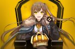 1girl absurdres armchair bangs black_gloves black_jacket black_legwear chair crown crown_removed eyebrows_visible_through_hair fur-trimmed_jacket fur_trim girls_frontline gloves hand_up highres jacket king_(vocaloid) light_brown_hair long_hair looking_at_viewer open_clothes open_jacket open_mouth pantyhose partially_fingerless_gloves scar scar_across_eye shirt side_ponytail smile solo sorayan_03 ump45_(girls'_frontline) white_shirt yellow_background yellow_eyes