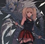 1girl amane_misa bandages bare_shoulders black_background black_nails black_shirt blonde_hair breasts chain colored_skin cross cross_earrings cross_necklace death_note earrings fangs garter_straps gradient gradient_background grey_skin highres holding holding_scythe jewelry long_hair looking_at_viewer necklace open_mouth plaid plaid_skirt pleated_skirt purple_lips red_skirt rei_(tdn_ng) scythe shiny shiny_skin shirt skindentation skirt small_breasts smile solo thigh-highs torn_clothes torn_shirt twintails weapon yellow_eyes