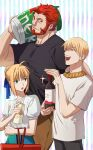1girl 2boys :d :o alternate_costume alternate_hairstyle artoria_pendragon_(fate) beard black_shirt blonde_hair bottle carrying_over_shoulder casual contemporary facial_hair fate/zero fate_(series) feet_out_of_frame gilgamesh_(fate) halorane height_difference highres holding iskandar_(fate) large_pectorals looking_at_another multiple_boys muscular muscular_male open_mouth pectorals red_eyes redhead shirt shopping shopping_cart skinny smile smug wine_bottle