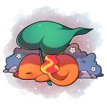 absurdres artist_name blush charmander closed_eyes fire flame flower from_side highres lying on_stomach outline pink_background pokemon pokemon_(creature) sevi_(seviyummy) sleeping sparkle watermark white_background white_flower white_outline