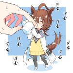 1girl agnes_tachyon_(umamusume) ahoge animal_ears aqua_background ark_rex bangs black_legwear black_neckwear black_shirt blush border bow bowtie brown_hair buttons chibi closed_eyes coat collared_shirt commentary ear_piercing eyebrows_visible_through_hair finger_in_another's_mouth full_body hair_between_eyes hands_up highres horse_ears horse_girl horse_tail huge_ahoge long_coat long_hair outside_border piercing shirt sidelocks signature size_difference sleeves_past_fingers sleeves_past_wrists sound_effects sweatdrop sweater tail tail_wagging umamusume v-shaped_eyebrows white_border white_coat white_footwear wide_sleeves yellow_sweater