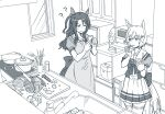 2girls ? ?? animal_ears apron bow carrot cellphone chopsticks cutting_board ear_covers eating greyscale holding holding_phone horse_ears horse_girl horse_tail indoors king_halo_(umamusume) kitchen knife lettuce long_hair microwave monochrome multiple_girls omaep one_side_up phone pot puffy_short_sleeves puffy_sleeves school_uniform seiun_sky_(umamusume) short_hair short_sleeves sink skirt smartphone spatula stove sweatdrop tail tail_raised thigh-highs tracen_school_uniform umamusume window wok
