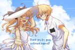 1boy 1girl artist_request bangs blonde_hair blunt_bangs cat closed_mouth dress earrings eyepatch green_eyes hat highres indie_virtual_youtuber jewelry long_hair looking_at_viewer medical_eyepatch necklace open_mouth second-party_source shio_tatsumi shirt short_hair sky virtual_youtuber white_dress white_shirt