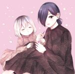 2girls absurdres bangs black_dress blush breasts closed_eyes commentary_request cosmetics dress facing_another floral_print hair_between_eyes hair_bun hair_over_one_eye highres kaneki_ichika kirishima_touka knees_up lipstick_tube long_sleeves looking_at_viewer medium_breasts mother_and_daughter multicolored_hair multiple_girls pink_background pink_lips short_hair smile tokyo_ghoul tokyo_ghoul:re toukaairab two-tone_hair