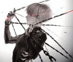 black_bodysuit black_nails black_sclera bodysuit chain colored_sclera commentary from_side glowing glowing_eye gradient gradient_background grey_background grey_hair highres kaneki_ken koujima_shikasa long_sleeves looking_at_viewer nail_polish parted_lips profile red_eyes solo spot_color symbol-only_commentary tokyo_ghoul upper_body