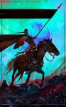 1boy animal blood cape commentary dominik_mayer english_commentary fantasy flower gradient gradient_background green_background helm helmet highres holding holding_shield horse original red_cape riding shield signature sitting sword weapon white_flower
