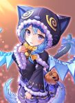 1girl absurdres alternate_costume animal_hood aqua_hair bangs bell blush bow bowtie braid crossed_bangs dragon_girl dragon_tail dragon_wings fur-trimmed_hood fur-trimmed_sleeves fur_trim hair_over_shoulder hand_up hazakura_shoha highres hood hood_up long_hair long_sleeves looking_at_viewer multiple_tails neck_bell open_mouth princess_connect! pumpkin purple_shirt purple_skirt shefi_(princess_connect!) shirt side_ponytail sidelocks skirt solo tail tail_bow tail_ornament upper_body violet_eyes wide_sleeves wings yellow_bow
