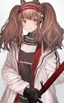 1girl angelina_(arknights) animal_ears arknights brown_hair eyebrows_visible_through_hair fox_ears hairband highres holding holding_staff infection_monitor_(arknights) jacket long_hair long_sleeves looking_at_viewer parted_lips red_eyes red_hairband red_shirt shirt simple_background smile solo staff suiu_aaa8 twintails upper_body white_background white_jacket