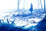 bare_tree blue_theme cross from_behind graveyard highres kagune_(tokyo_ghoul) kaneki_ken koujima_shikasa long_sleeves outdoors short_hair solo standing symbol-only_commentary tokyo_ghoul tokyo_ghoul:re tree wide_shot