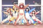 5girls :d animal_costume animal_hood arisugawa_natsuha bear_hood blurry building depth_of_field dog_hood full_body gojarun grin group_picture hamster_hood highres hood houkago_climax_girls_(idolmaster) idolmaster idolmaster_shiny_colors komiya_kaho lion_hood looking_at_viewer morino_rinze multiple_girls night night_sky open_mouth outstretched_arm outstretched_arms pajamas partially_unzipped penguin_hood saijou_juri sky smile sonoda_chiyoko zipper
