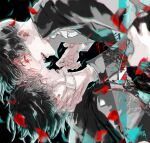 2boys bangs black_background black_hair black_jacket commentary_request dual_persona eye_contact face-to-face from_side highres jacket kaneki_ken koujima_shikasa long_sleeves looking_at_another male_focus multiple_boys open_mouth petals red_eyes shirt short_hair teeth tokyo_ghoul upper_body white_eyepatch white_shirt