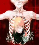 2boys bangs blonde_hair blood blood_from_eyes blood_on_face closed_eyes closed_mouth collarbone commentary facing_down guro highres kaneki_ken koujima_shikasa male_focus multicolored multicolored_background multiple_boys nagachika_hideyoshi numbered outstretched_arms plant red_background ribs short_hair teardrop tears tokyo_ghoul translation_request
