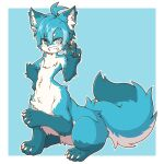 1boy acky ahoge animal_ear_fluff animal_ears animal_hands bangs blue_background blue_eyes blue_fur blue_hair blush centauroid claws commentary eyebrows_visible_through_hair fang fictional_persona fox_boy fox_ears fox_tail full_body furry furry_male grin hair_between_eyes hand_on_hip heterochromia highres leg_up looking_at_viewer male_focus navel original outline parted_bangs short_hair sitting slit_pupils smile snout solo tail taur teeth thick_eyebrows v white_fur