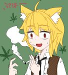 1girl :d animal_ears asymmetrical_hair bangs black_neckwear blonde_hair brown_vest collared_shirt commentary_request constricted_pupils cookie_(touhou) drugs eyebrows_visible_through_hair fox_ears fox_girl green_background hair_between_eyes joint_(drug) marijuana medium_hair miramikaru_riran necktie open_mouth red_eyes shirt sidelocks simple_background smile smoking solo translation_request trembling upper_body vest white_shirt yan_pai