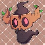 :o absurdres brown_background commentary full_body hands_up highres looking_at_viewer no_humans outline phantump pokemon pokemon_(creature) red_eyes sevi_(seviyummy) white_outline